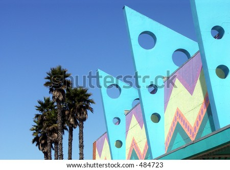 Art Deco Buildings and Palm Trees - stock photo