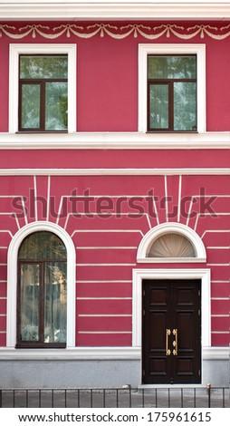 Art deco buildings, facade, classic architecture, city - stock photo