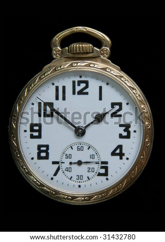 Art Deco Gold Pocket Watch with Arabic Numerals