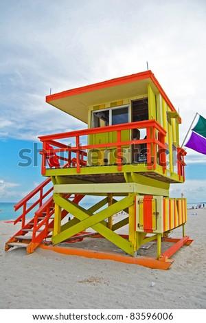 art deco lifeguard tower on Miami Beach, Florida - stock photo