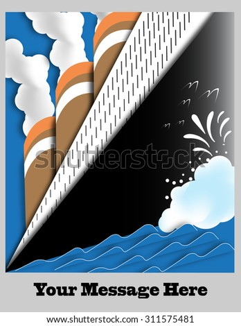 Art Deco Ocean Liner Poster with Space for Text - stock photo