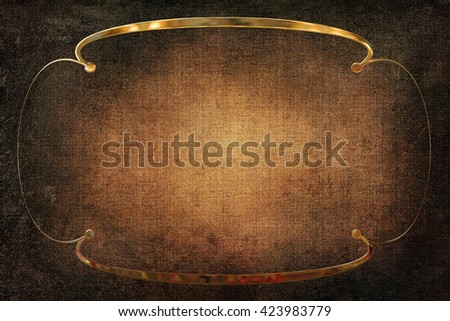 Art Deco ornamental golden frame with a background with texture. Gold and brown colors