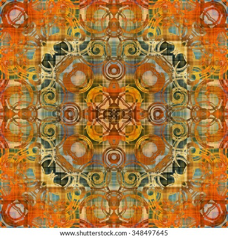 art deco ornamental vintage pattern in orange, old gold and grey green colors