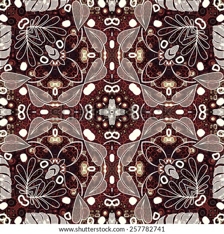 art deco ornamental vintage pattern, S.3, monochrome background in white, beige and brown colors - stock photo