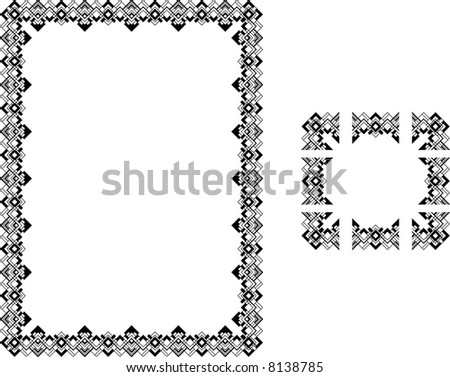 Art Deco Style border frame. A  illustration of a Art Deco Style border frame; comes with seamlessly tillable component parts so you can make a frame to any size or aspect ratio. - stock photo