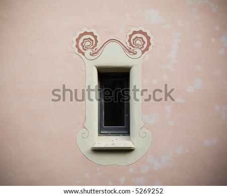 Art Deco window in Parc Güell, Barcelona. - stock photo
