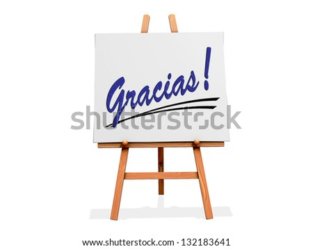 Art Easel on a white background with Thanks in Spanish - stock photo