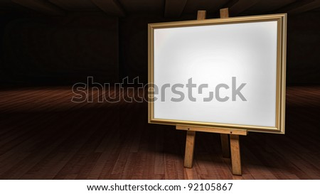 Art Easel with blank framed canvas in a darkened gallery - stock photo