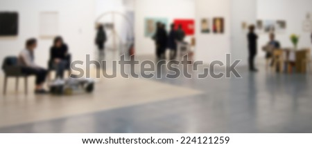 Art exhibition gallery abstract background, intentionally blurred post production. - stock photo