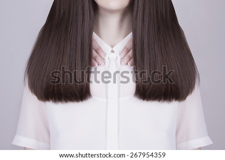 art fashion portrait of women hands and beautiful healthy long hair - stock photo