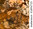 art floral and leaves grunge graphic autumn background in brown and orange colors - stock photo
