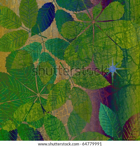 art floral autumn vintage background - stock photo