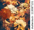 art floral colorful watercolor and graphic autumn background with vanilla and orange-brown asters - stock photo