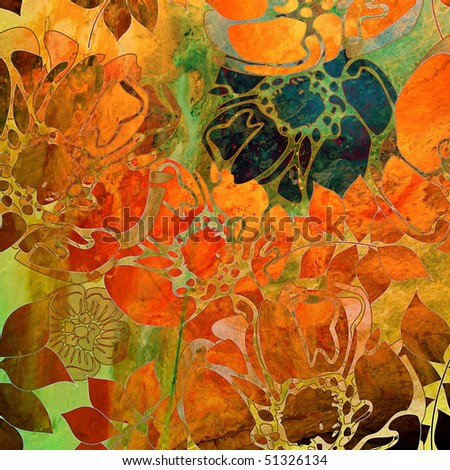 art floral grunge graphic and watercolor background in orange, red, gold, brown and green colors - stock photo