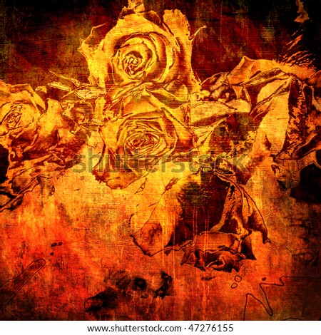 art floral grunge graphic background - stock photo