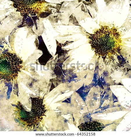 art floral grunge graphic background in white and pastels colors - stock photo