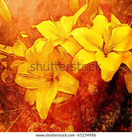 art floral grunge graphic background with lily - stock photo