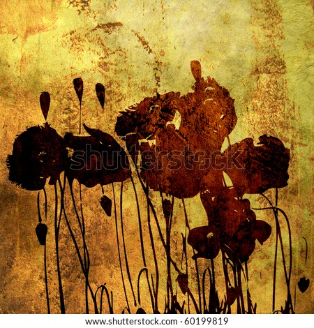art floral grunge graphic golden background with stylization brown poppy, with space for text - stock photo