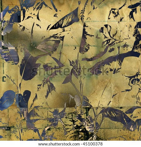 art floral grunge light gold background with silhouetting leaves