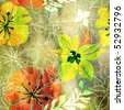 art floral grunge pattern background in yellow, white, green, orange, red and brown colors - stock photo