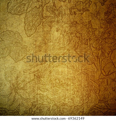 art floral grunge textured gold background, pattern with graphic flowers - stock photo