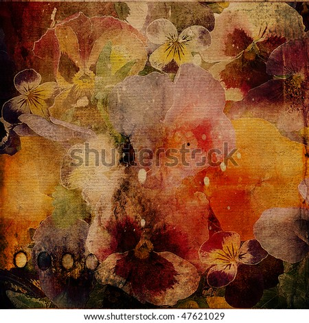 art floral grunge watercolor background in brown, beige, yellow gold, orange and red colors with violets  - stock photo