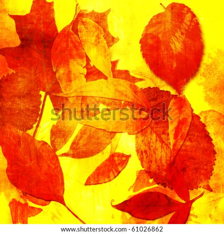 art floral leaves vintage autumn background in red and golden colors - stock photo