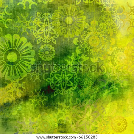 art floral ornament grunge green and yellow background - stock photo