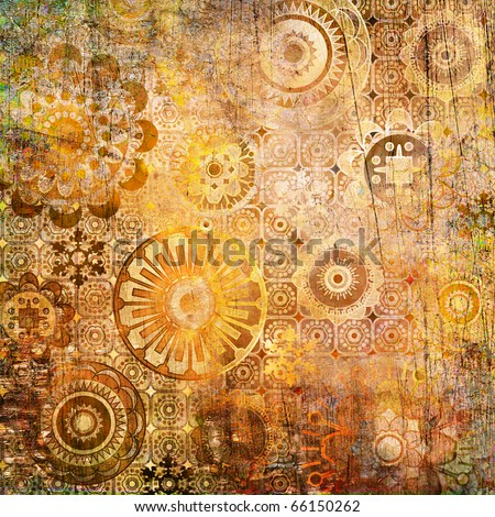 art floral ornamental grunge background in gold, orange and brown colors - stock photo