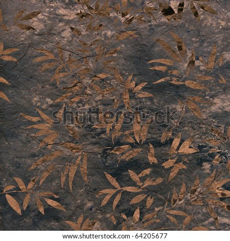 art floral pattern grunge autumn background in dark blue and brown colors - stock photo