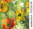 art floral pattern grunge watercolor and graphic background in green, yellow, red and white colors - stock photo