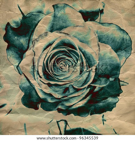 art floral vintage background with inkblots rose - stock photo
