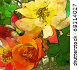 art floral vintage colorful background with garden red, orange and yellow roses - stock photo