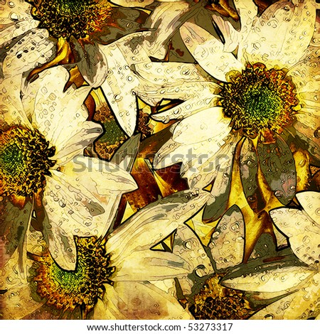 art floral vintage colorful summer and autumn background with big gold and white chamomiles - stock photo