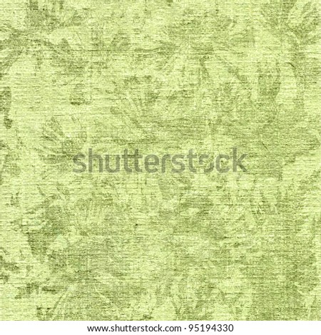 art floral vintage monochrome light green pattern on paper textured background - stock photo
