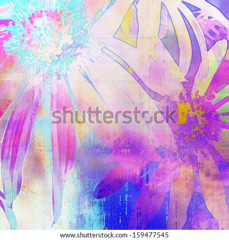 art floral vintage pink background with asters