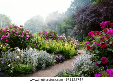 Art flowers in the morning in an English park - stock photo