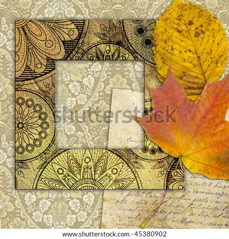 art frame on pattern paper with autumn leaves - stock photo