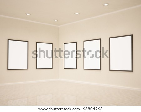 Art gallery, blank frames, 3d illustrastion - stock photo