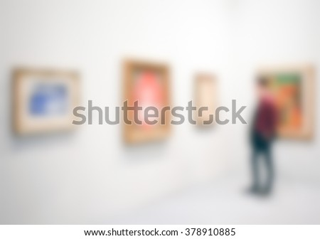 Art gallery generic view. Background with an intentional blur effect applied. - stock photo