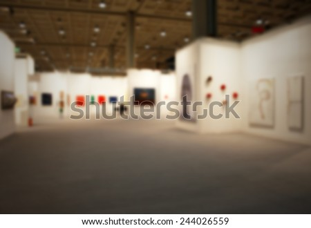 Art gallery show background. Intentionally blurred post production. - stock photo