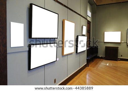 Art Gallery with blank frames - stock photo