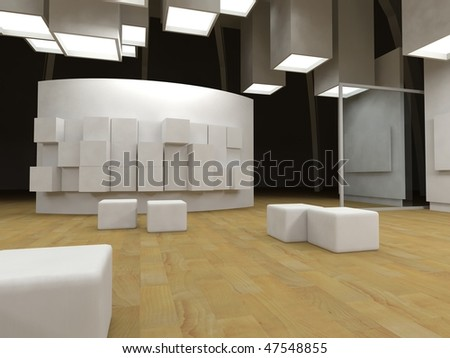 Art gallery with blank frames, modern building, conceptual architecture - stock photo