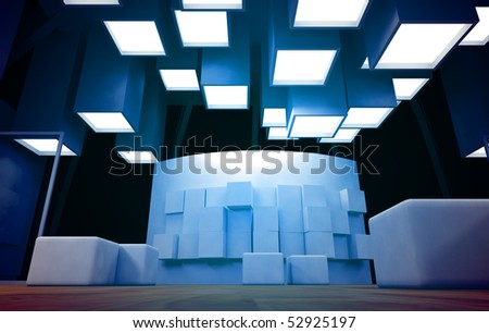 Art gallery with blank frames, modern building, conceptual architecture in blue colors - stock photo