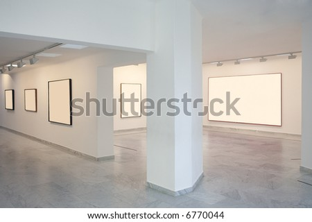 art gallery with blannk frames - stock photo