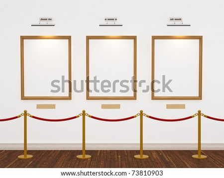 Art gallery with three frames and lights. 3d illustration. - stock photo