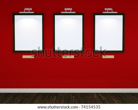 Art gallery with three picture frames and lights with red wall and realistic floor. 3d illustration - stock photo