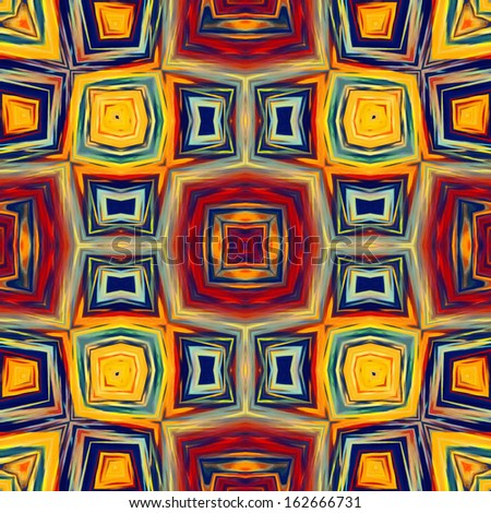 art geometric ornamental vintage tiles pattern in red,  gold yellow, blue and green colors