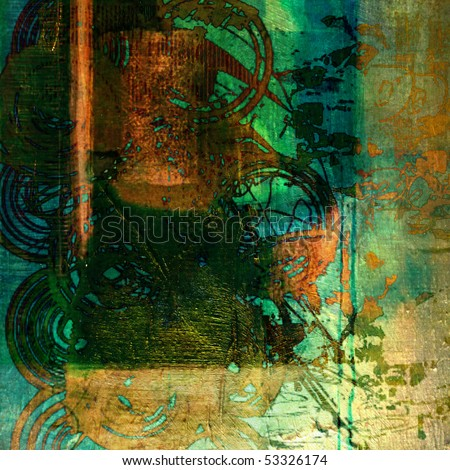 art geometric pattern, grunge vintage textured oil painted background in bright gold, green, orange, blue and black colors
