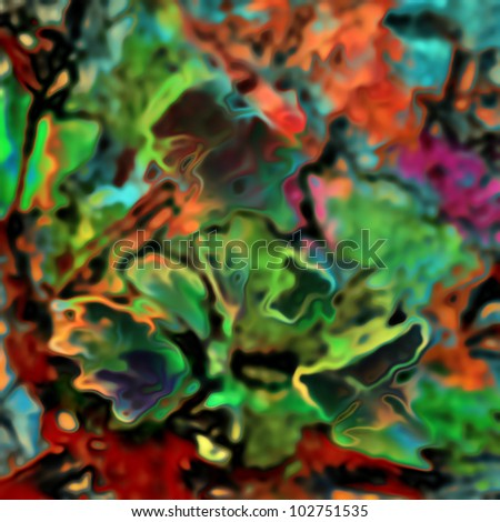 art glass floral colorful blurred background with big green flower on coral, purple, green and red fond